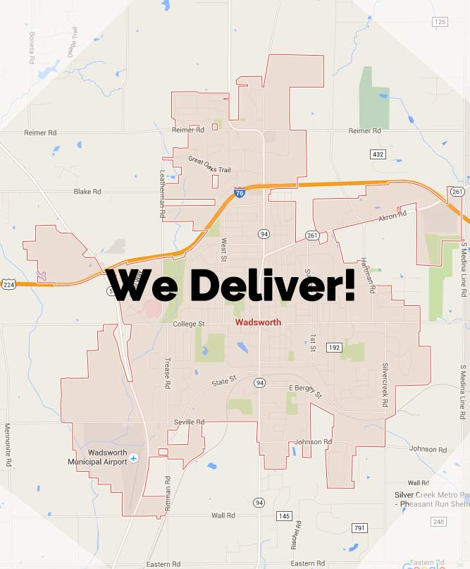 Pizzazios Pizza Wadsworth Delivery Area